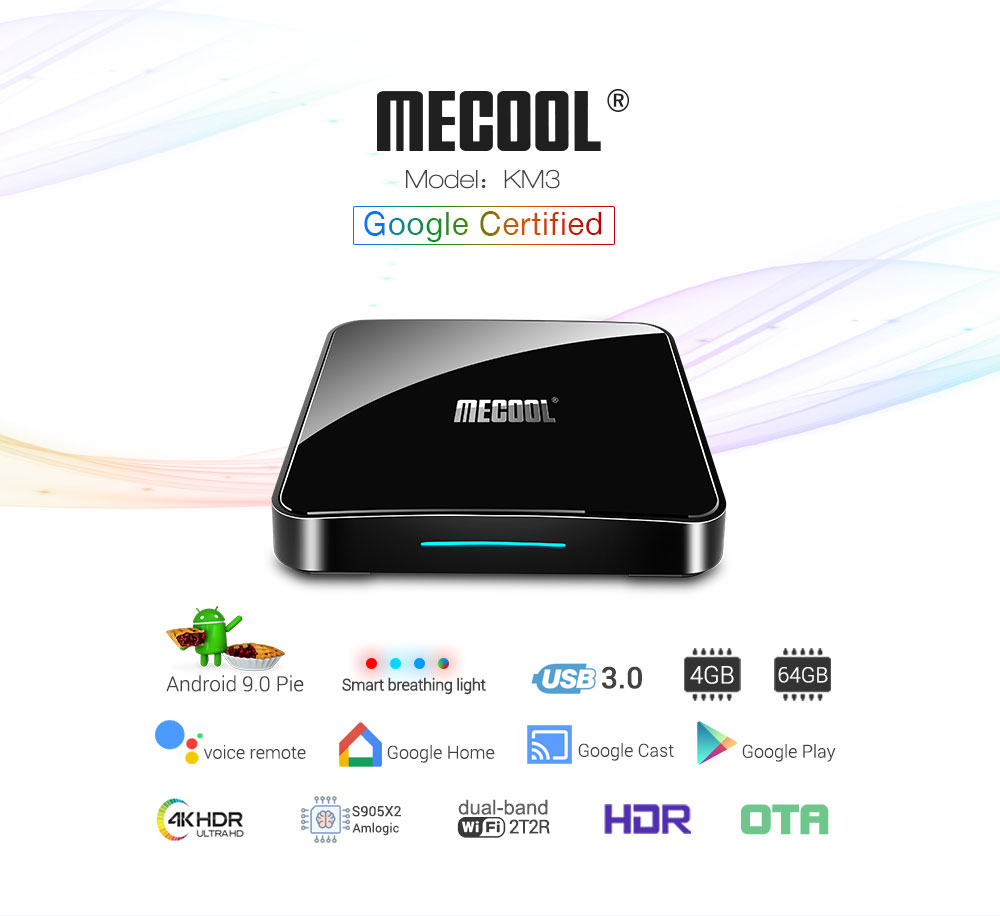 MECOOL KM3 Android 9.0 Voice Control TV Box Google Certificated Amlogic S905X2 4GB DDR4 + RAM 64GB ROM 2.4G + 5G WiFi Bluetooth 4.1 USB 3.0 Support 4K- Black EU Plug