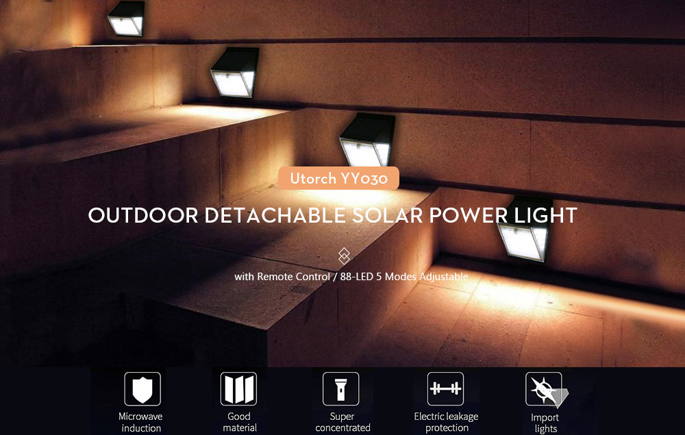 Utorch YY030 Outdoor 88-LED Detachable Solar Power Light with Remote Control - Black