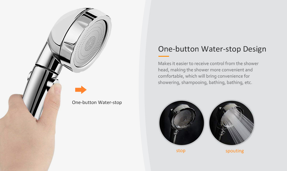 One-button Water-stop Shower Head Negative Ion Nozzle Booster - Gold