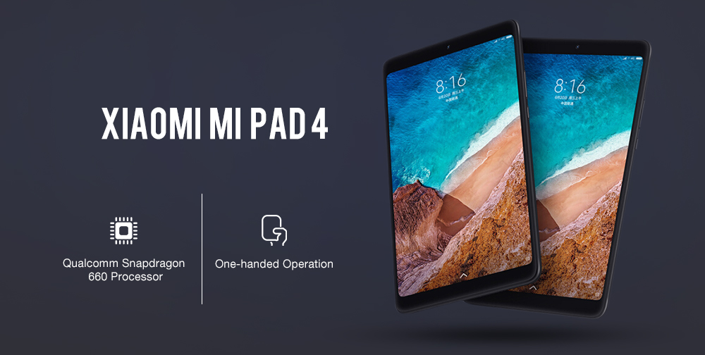 Xiaomi Mi Pad 4 4G Phablet 8.0 inch MIUI 9 Snapdragon 660 Octa Core 4GB RAM 64GB eMMC ROM 5.0MP + 13.0MP Front Rear Cameras Dual WiFi- Gold