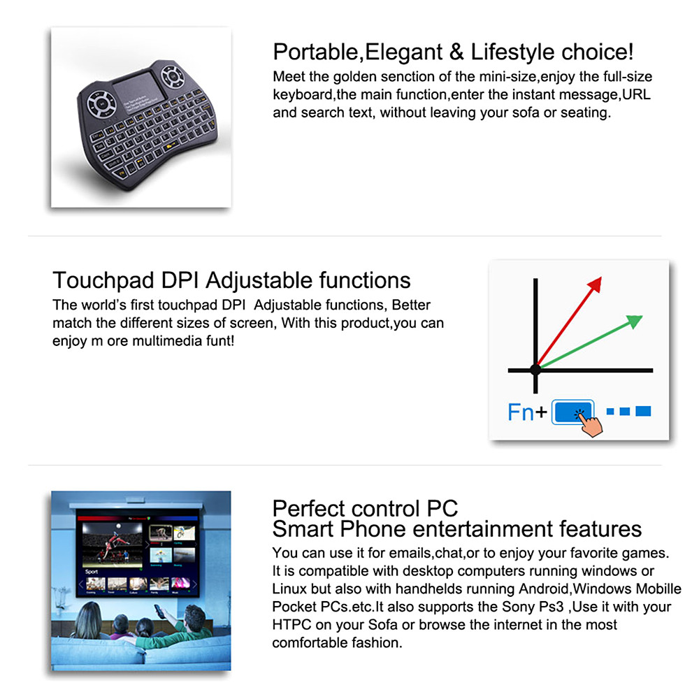 Wireless Keyboard Support Multilingual Flying Squirrels Mini Seven Dazzle  Colour