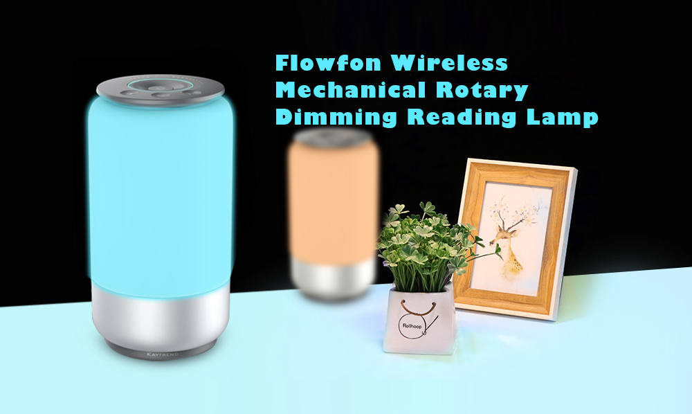 Flowfon Wireless Reading Bedside Lamp Rotary Dimming Light Gray Regular