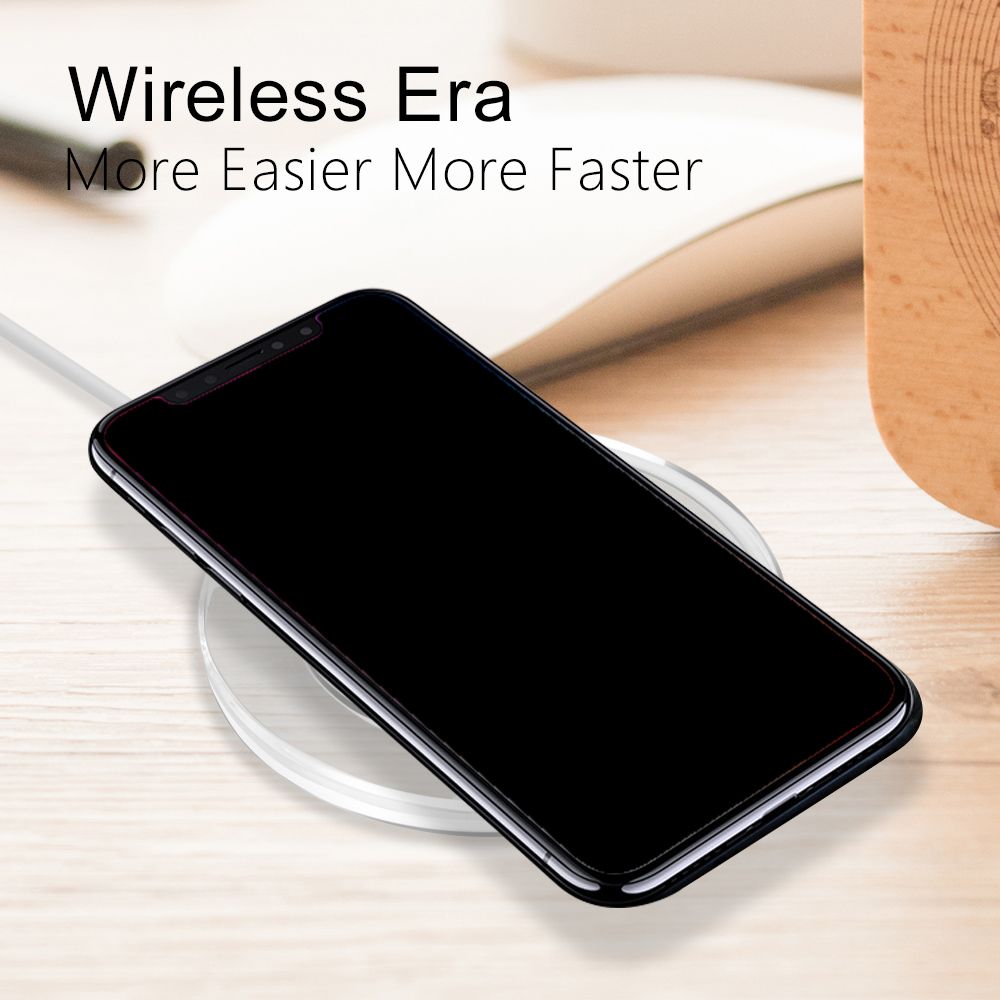 for Qi Wireless Charger Charging Power Pad Slim Receiver for iPhone X / 8Plus- Jet Black