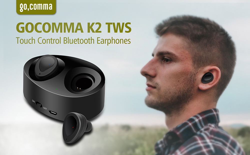 Gocomma K2 TWS Wireless Mini Ecouteurs Stereo Bluetooth 50 Casque-audios Black