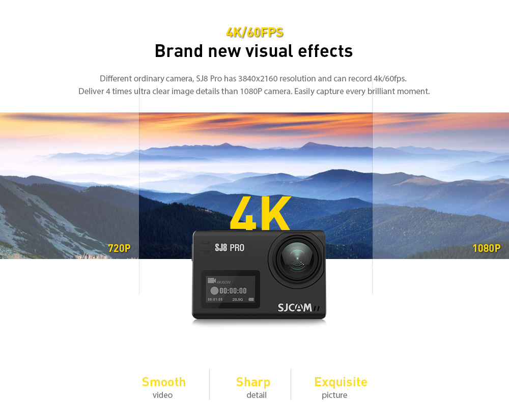 Original SJCAM SJ8 Pro 4K 60fps Dual Touch Screen WiFi Action Camera- Black