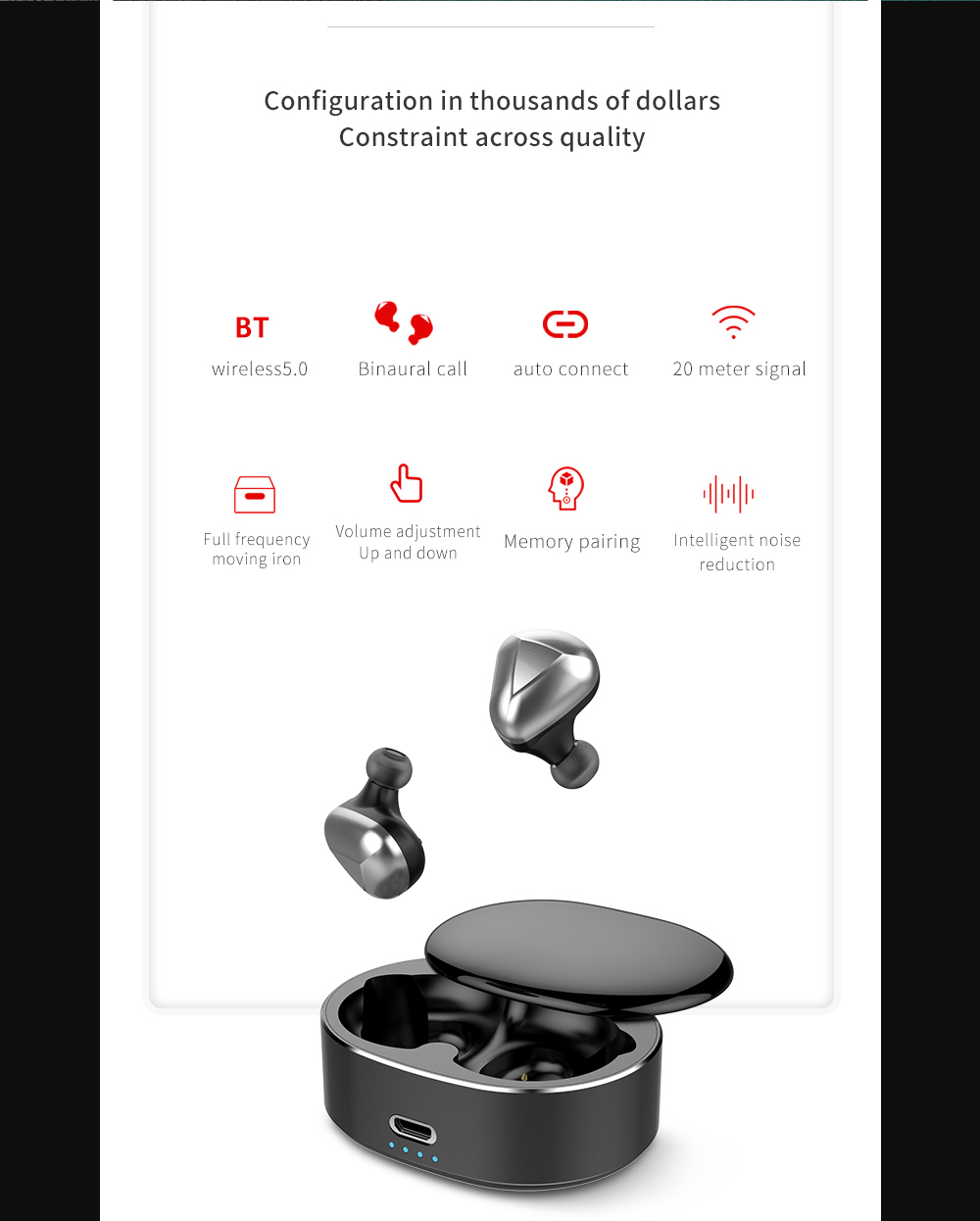 T50 Multifunctional Wireless Automatic Durable Touch Control Bluetooth Earphone- Natural Black