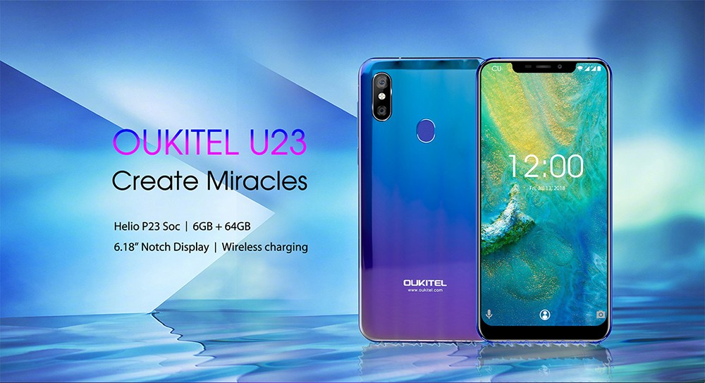 OUKITEL U23 4G Phablet 6.18 inch Android 8.1 MTK 6763T Octa Core 2.0GHz 6GB RAM 64GB ROM 16.0MP + 2.0MP Rear Camera 8.0MP Front Camera 3500mAh Built-in - Blue European Union