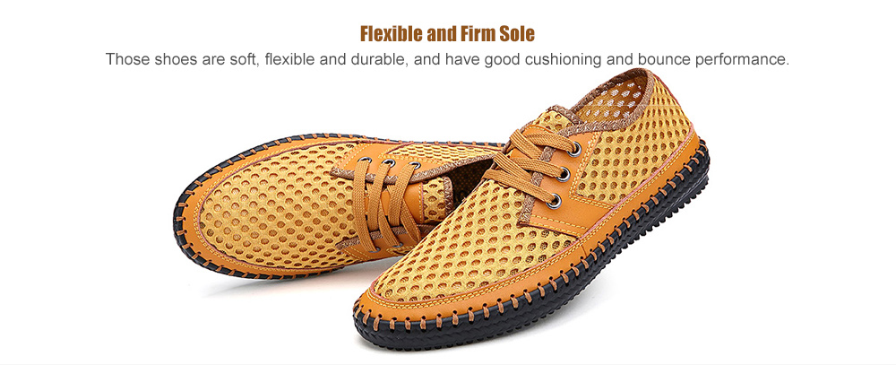 Men Mesh Fabric Casual Shoes Lace-up- Coffee EU 39