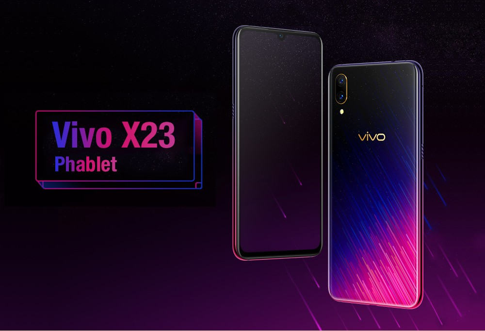 Vivo X23 4G Phablet 6.41 inch Funtouch OS Qualcomm Snapdragon 660 AIE Octa Core 1.95GHz Adreno 512 6GB RAM 128GB ROM 3 Camera Fingerprint Sensor 3500mAh Battery Built-in- Blue