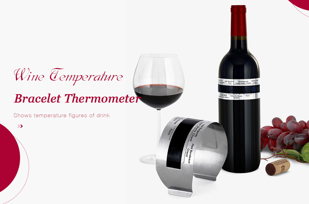 Creative Stainless Steel Wine Bracelet Thermometer with LCD Display Easy Home Supply- Silver