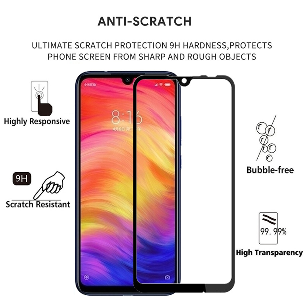 2PCS 3D Full Cover Tempered Glass Screen Protector for Xiaomi Redmi Note 7 Pro- Black