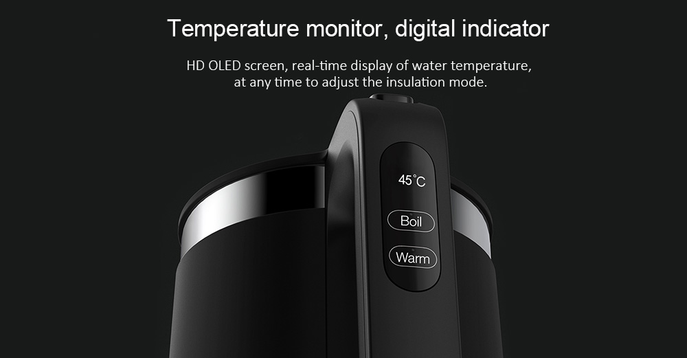 VIOMI V - SK152B Intelligent Thermostat Anti-scalding 304 Stainless Steel Electric Kettle for Household from  youpin- Natural Black