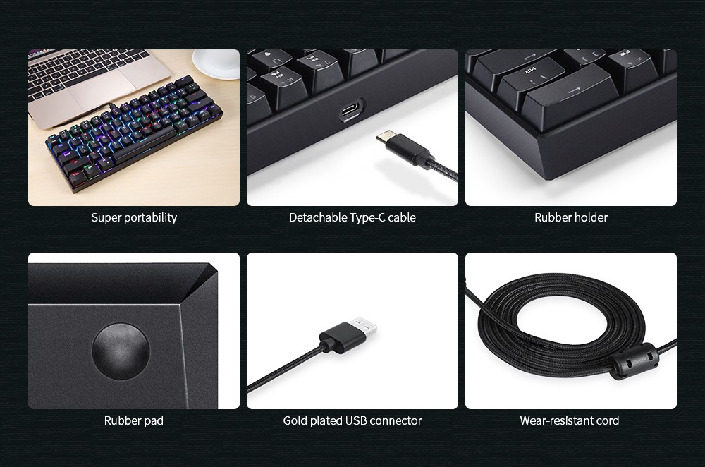 MOTOSPEED CK61 NKRO Gaming Mechanical Keyboard with Kailh BOX Switch- Black Kailh BOX Switch
