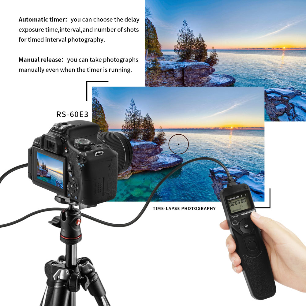 RS-60E3 LCD Time Shutter Release Remote Control for Canon EOS 1500D 800D  M50 77D