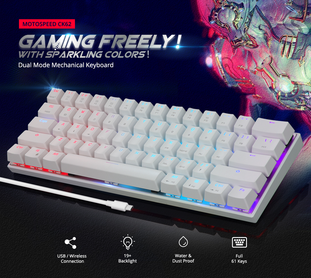 MOTOSPEED CK62 Wired Bluetooth Dual Mode Mechanical Keyboard with RGB Backlight- Black Red Switch