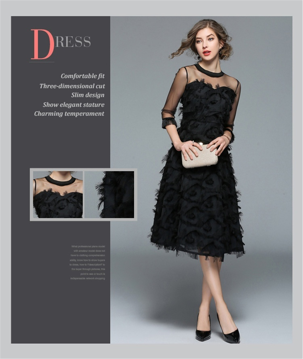 French Style For Graceful Women 2019 Summer High End New Fringed Feather Dresses