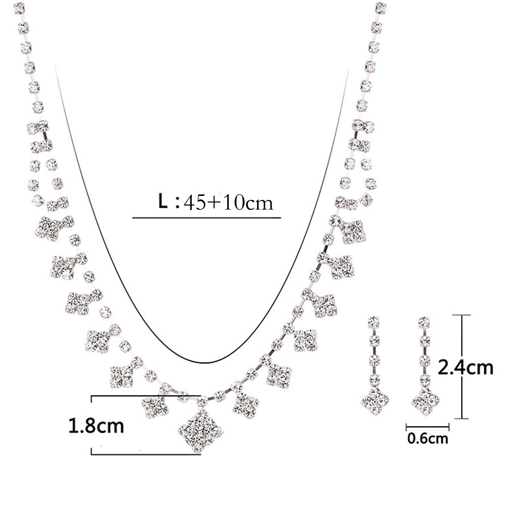 New Simple Square Necklace Set- Silver