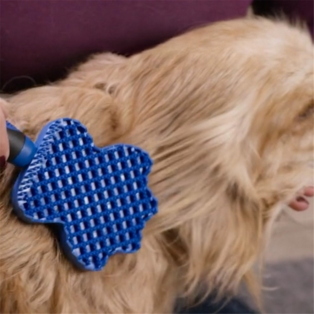 Grooming Cleaning Brush Magic Pet Dog Cat Massage Hair Removal Glider Comb- Blue
