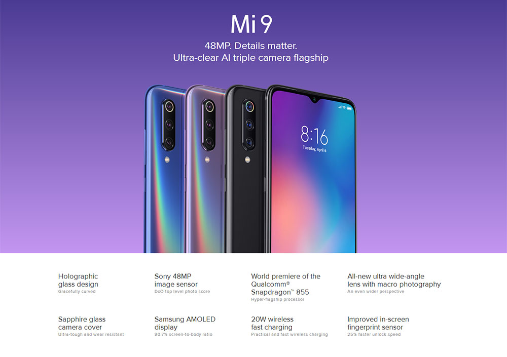 Xiaomi Mi 9 4G Phablet 6.39 inch MIUI 10 ( Android 9.0 ) Qualcomm Snapdragon 855 Octa Core 2.84GHz 6GB RAM 64GB ROM 20.0MP Front Camera Face ID 3300mAh Built-in - Blue