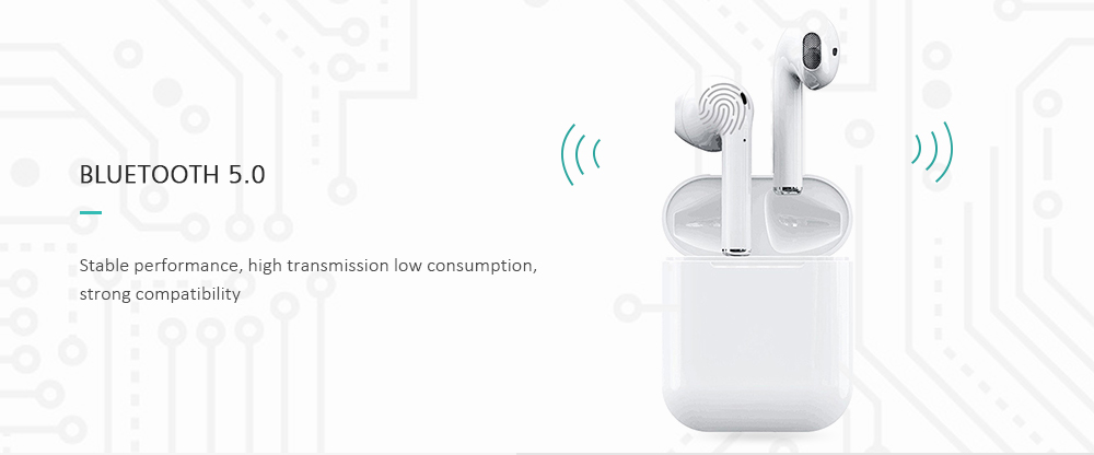 Gocomma i12 TWS Touch Control Wireless Bluetooth 5.0 Headphones with Microphone Charging Case- White