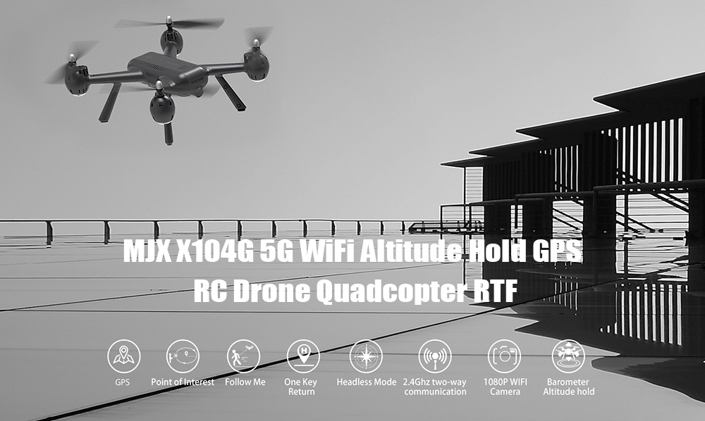 MJXR / C Technic X104G 5G WiFi Altitude Hold GPS RC Drone Quadcopter RTF- Black