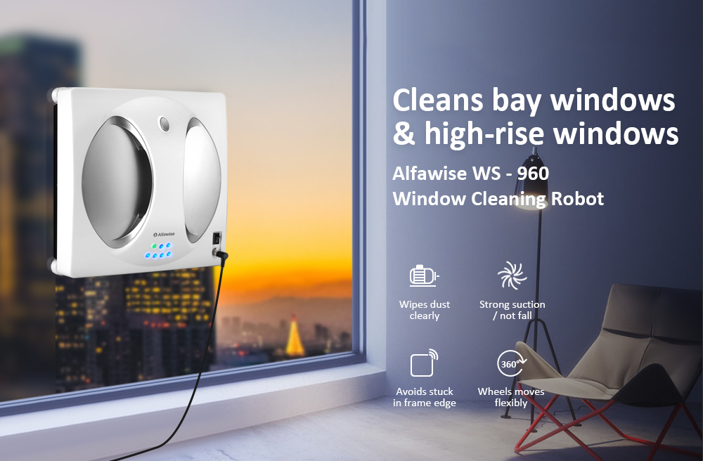 Alfawise WS - 960 Smart Robot Vacuum Window Cleaner Wipe Outside or Upper Window Glass- Silver