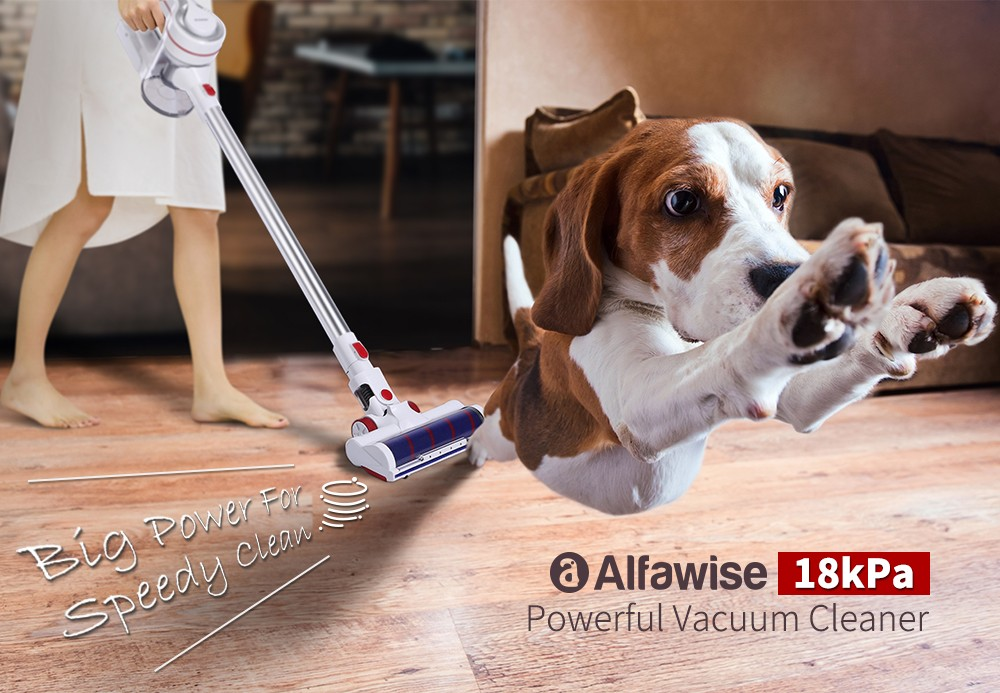 Alfawise AR182BLDC Powerful Rechargeable Cordless Handheld Vacuum Cleaner with Brushless Motor 18Kpa Sunction- White