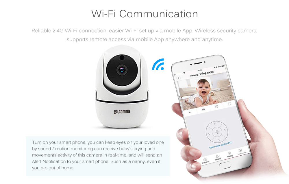 Gocomma 1080P Wireless WIFI IR Cut Security IP Camera Night Vision Intelligent Surveillance Cameras- White EU Plug