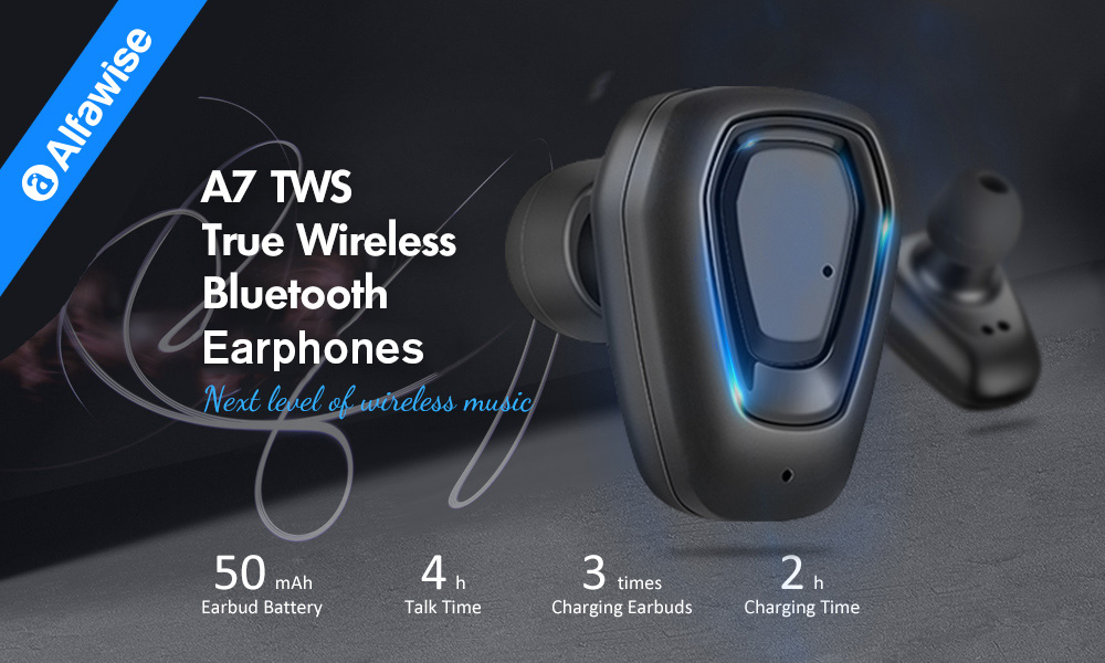 Alfawise A7 TWS Wireless Mini Earbuds Bluetooth Stereo Bilateral Earphones with Portable Charging Dock- Black Bluetooth 4.2