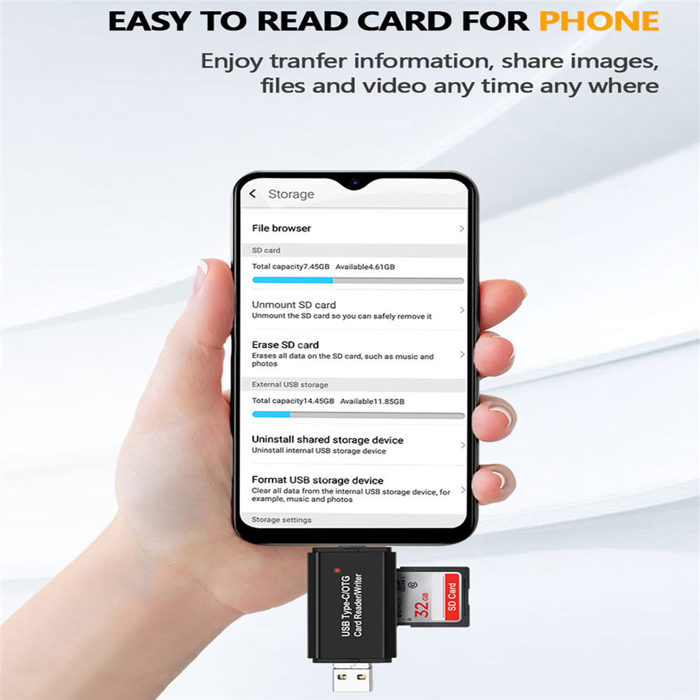 Type-c Interface USB-C3.0 High-Speed Multi-Function Mobile Phone Card Reader Yougou01 Card Reader Color : Black