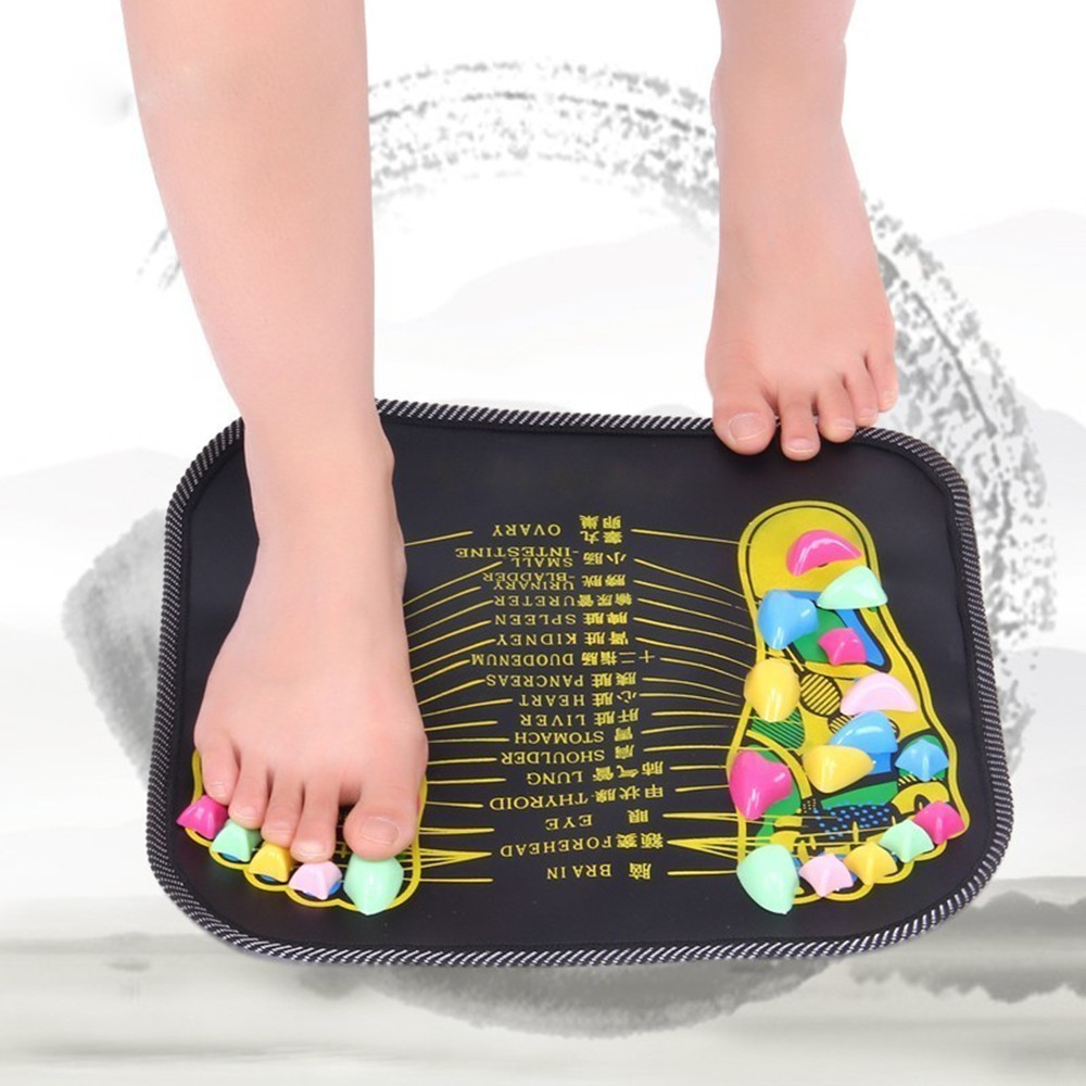 Walk Stone Massager Mat Apparatus Foot Acupressure Cushion- Multi