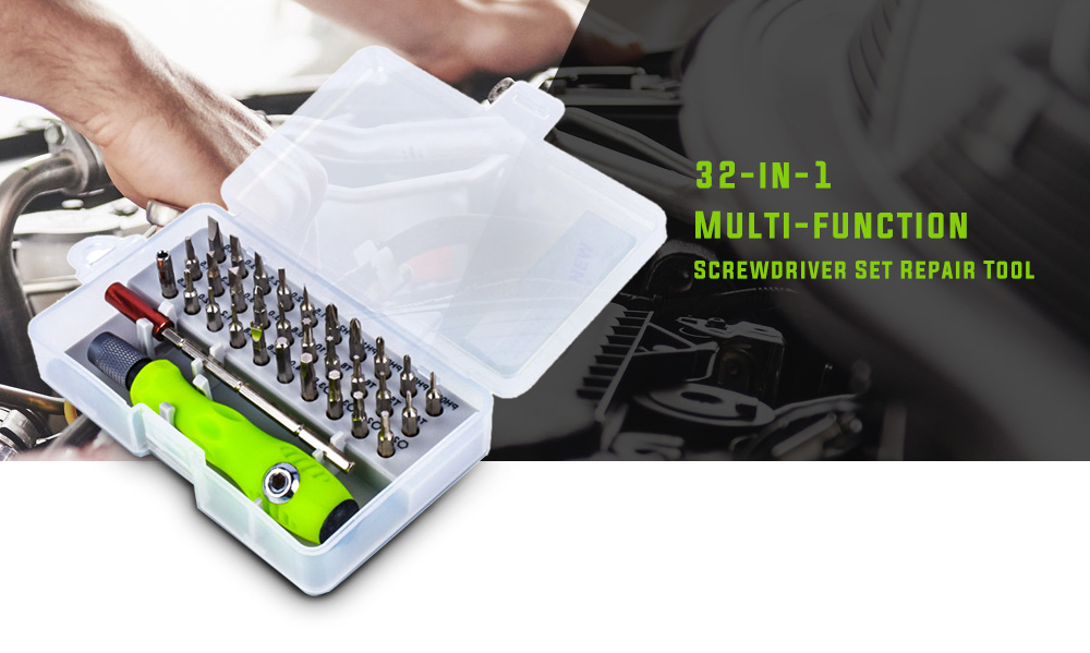 32-in-1 Multi-function Screwdriver Set Repair Tool- Yellow Green