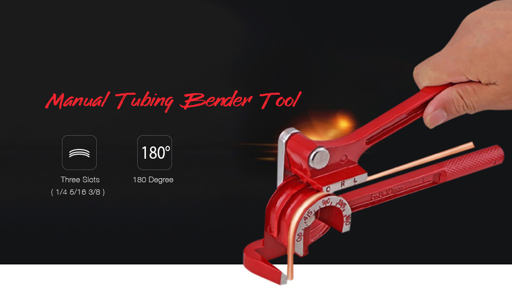3 in 1 Manual Pipes Bender 6/8/10mm 180 degree Bending Tool Brake Fuel Hose Tool- Red