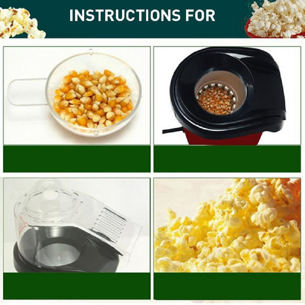Electric Household Oil Free Popcorn Maker Machine Corn Popper- Red