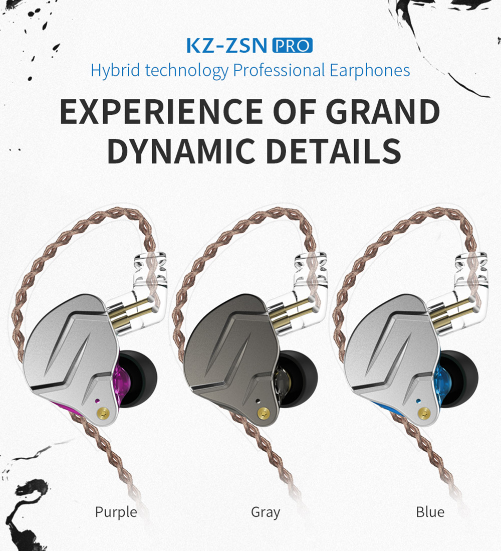 KZ ZSN pro Headphones Quad-core Moving Iron Double Circle Diy Custom Wireless  Call Sports- Blue with Mic