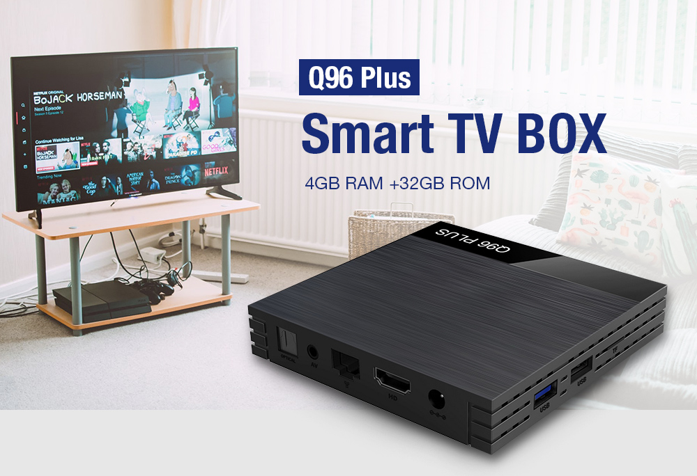 Q96 Plus Smart TV BOX 4GB RAM +32GB ROM Black Prises Européen