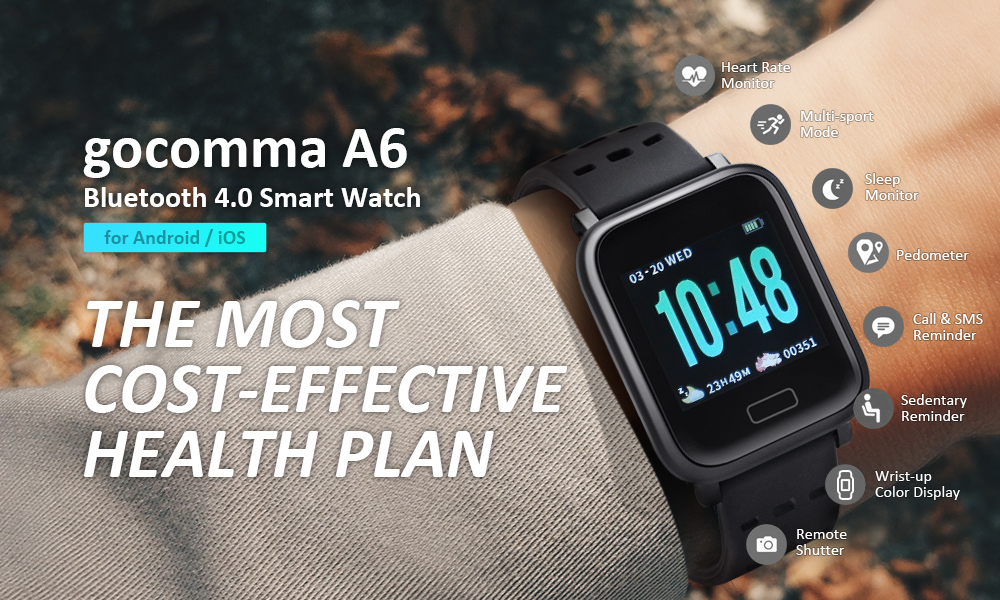 gocomma A6 Smart Watch Heart Rate Monitor for Android / iOS- Black