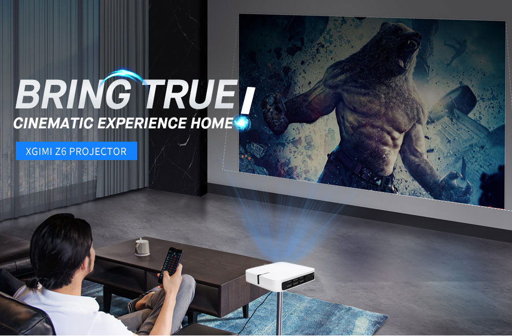 XGIMI Z6 700 Ansi Lumens DLP Projector Home Theater 1080P Full HD Support 3D WiFi Mirroring Display- White