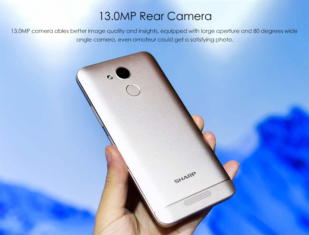 SHARP R1 4G Smartphone 5.2 inch Android 7.0 MTK6737 Quad Core 1.25GHz 3GB RAM 32GB ROM 13.0MP Back Camera 8.0MP Front Camera Fingerprint Sensor 4000mAh Built-in- Gold
