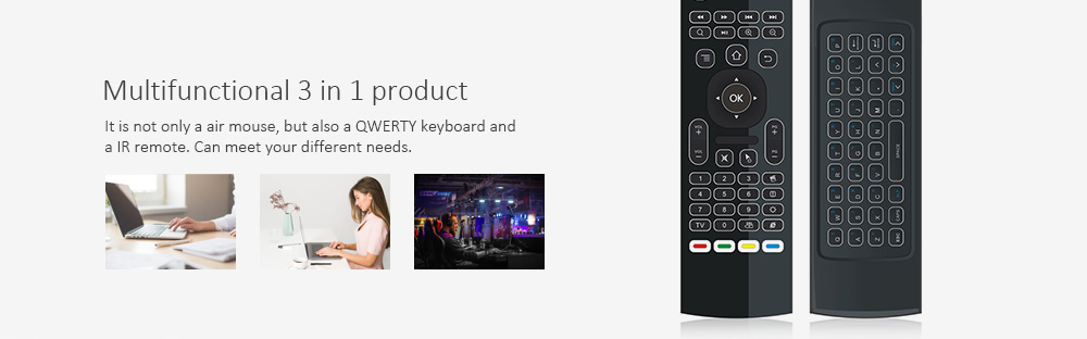 MX3 - L 3 in 1 2.4GHz Mini Wireless Air Mouse QWERTY Keyboard IR Remote Combo with Receiver for Android Windows Mac OS Linux- Black
