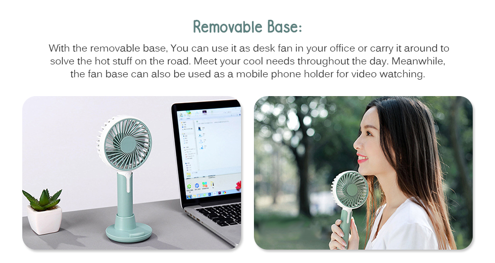 Portable USB Small Fan Mini Portable Handheld Fan with Makeup Mirror Magnetic Detachable Base USB Powered Or Rechargeable 1200 MAh Great for Desktop Tabletop Office /& Travel