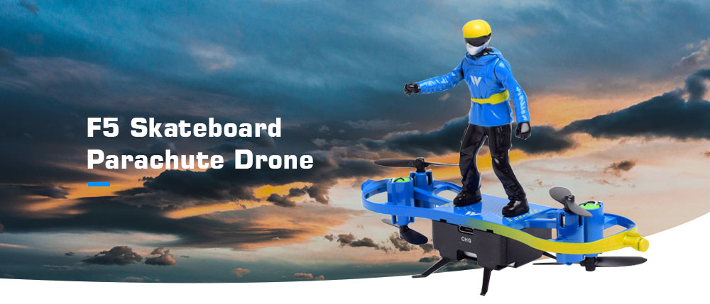 F5 360 Degrees Flip / One Button Take off Landing / Parachute Mode Skateboard Parachute Drone with Gyro - Dodger Blue