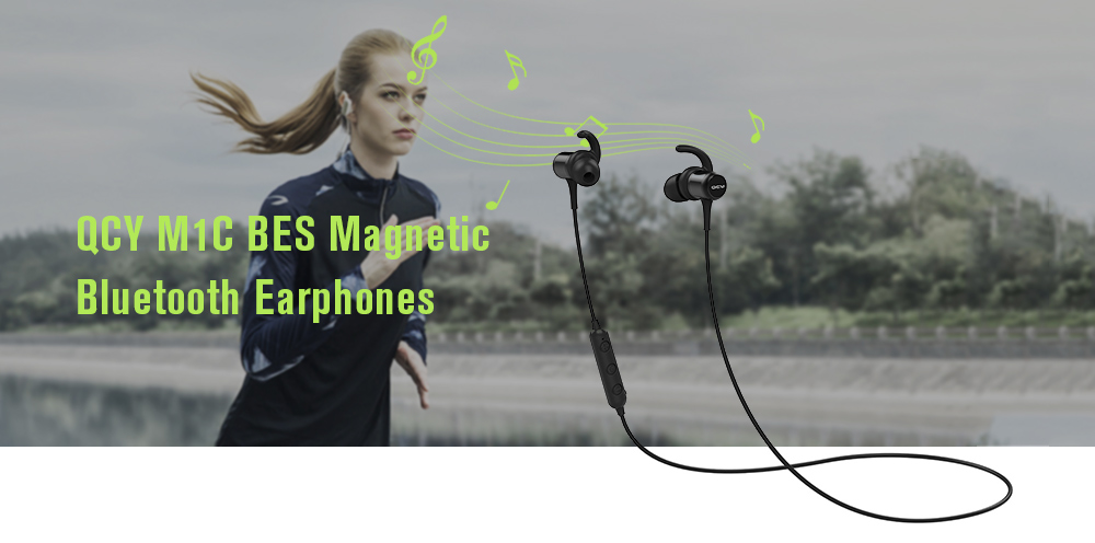QCY M1C BES Magnetic Bluetooth Earphones Stereo In-ear Sports Earbuds with Mic - Black