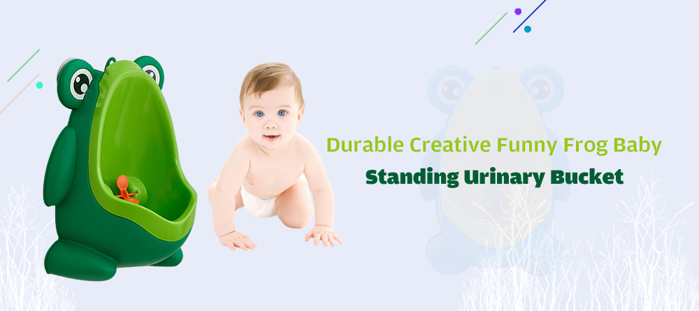 9696 Durable Creative Funny Frog Baby Standing Urinary Bucket- Green