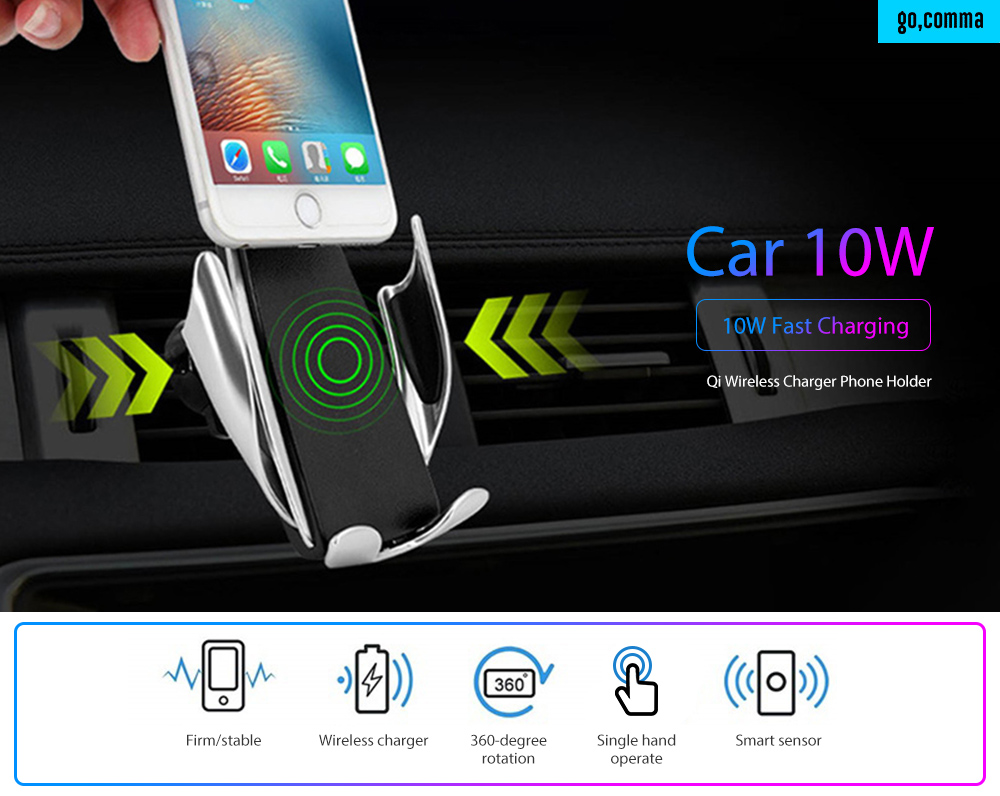 Gocomma Car Wireless Fast Charging Infrared Induction Phone Charger Holder- Black 1PCS