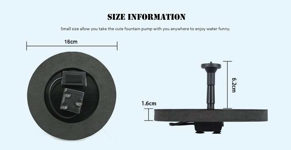 Solar Floating Bath Fountain Pump For Garden and Patio Watering- Black