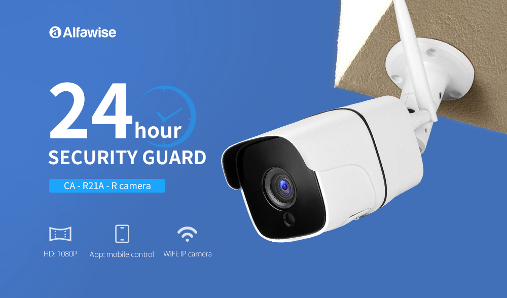 Alfawise CA - R21A - R 1080P HD 2.0MP IP66 Waterproof Wireless Smart WiFi IP Camera for Home Security- White
