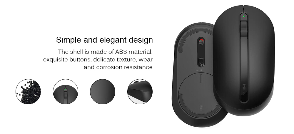 MIIIW Durable Lightweight Simple Wireless Office Mouse - Black