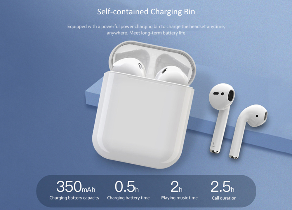 i13 TWS Wireless Bluetooth 5.0 Earphone - White