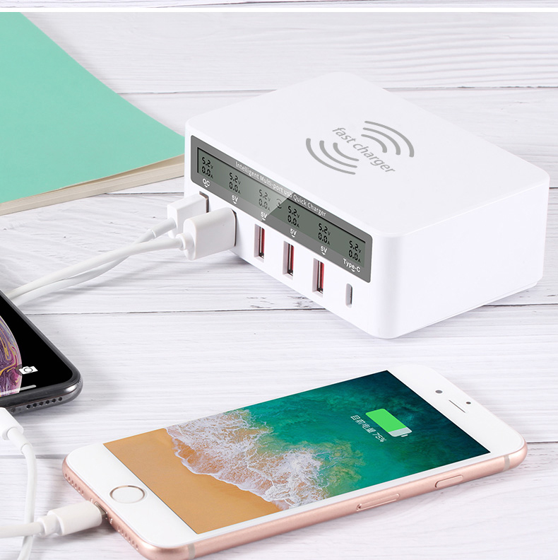 Gocomma 6-port 40W Charger European Standard with 10W Wireless Charge Support Type-C QC3.0 Fast Charging- White